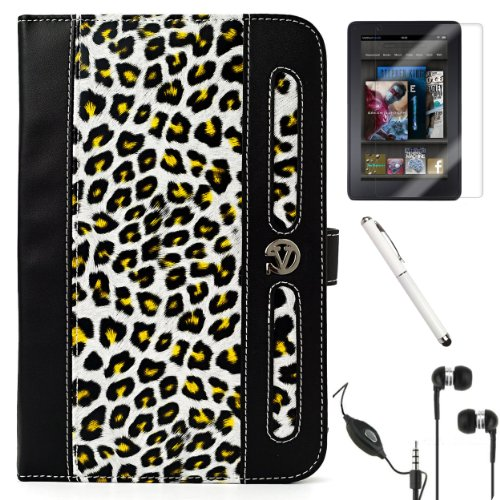 """White, Black, Brown, Gold Leopard Vangoddy Dauphine Portfolio Jacket Cover Case For The All New Kindle Fire Tablet By Amazon ( 7"""" Lcd Display, Wi-Fi, 8Gb, Latest Generation ) + Crystal Clear High Quality Hd Noise Filter Ear Buds Earphones Headphones With"""