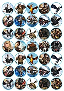 35 HOW TO TRAIN YOUR DRAGON CUPCAKE TOPPERS RICE / WAFER ...