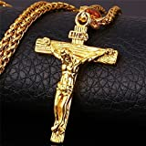 Stainless Steel Antique Cross Crucifix Pendant Necklace For Men 24 Inch (Gold)