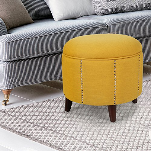 Yellow Nailhead Round Ottoman!! Homebeez Modern Nailhead Trim,Wood Legs,Fabric Storage Ottoman (Yellow) Cylinder