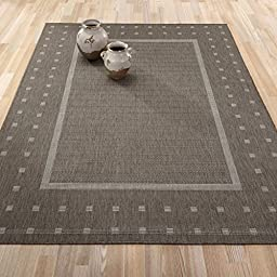 Ottomanson JRD8843-5X7 Jardin Collection Contemporary Bordered Design Indoor/Outdoor Jute Backing Area Rug, 5\'3\