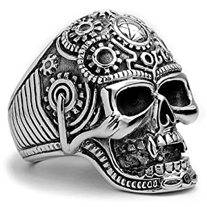 The Ultimate Stainless Steel Casted Skull Biker Ring Size 9