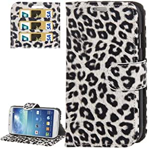 White and Grey Leopard Texture Horizontal Flip Button Leather Case with Credit Card Slots & Holder for Samsung Galaxy S4 / i9500