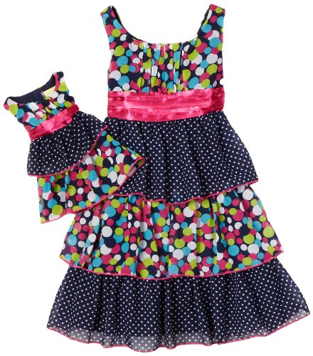Tiered Multi Dot Dress and Matching Doll Garment