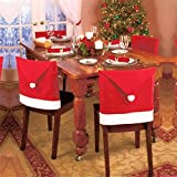 Alcoa Prime 1pcs Santa Red Hat Chair Covers Christmas Decorations Dinner Chair Xmas Cap Sets Chair Covering Drop...