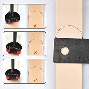 OWDEN Professional 3 Pieces Leather Belt end Cutter Punch Set,Half-Round Shaped,Leather Strap Punch Tool Set,3 Sizes Leather Tool. (Color: Half-Round)