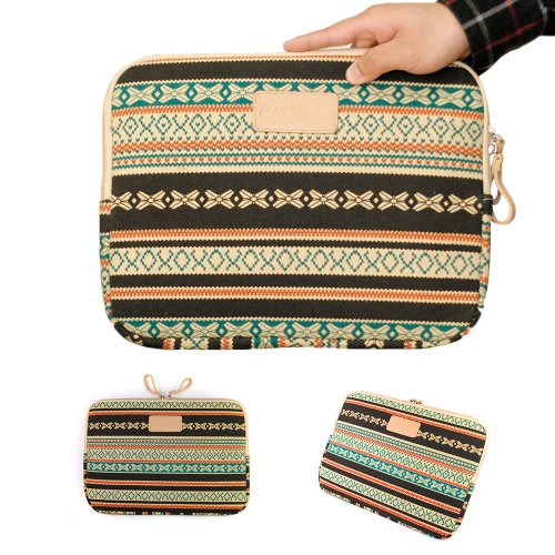 iClover Retro Unconforming Style Canvas Neoprene 14 Inch Laptop Sleeve Bag Dell / Hp /Lenovo/sony/ Toshiba / Ausa /Acer /Samsun Ultrabook Pack Cover Netbook / Laptop / Notebook Computer/13.3 inch Macbook/Macbook Pro /Macbook Retina/ MacBook Air Sleeve Cau