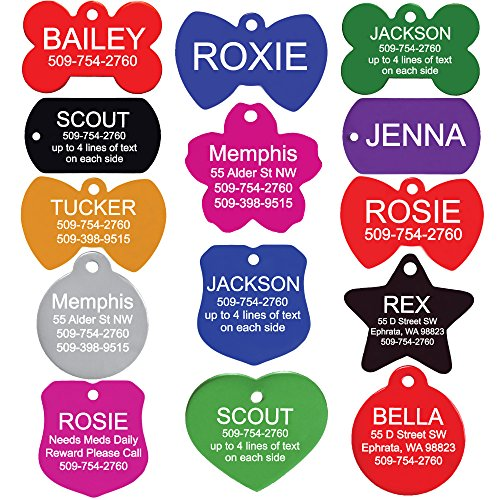 Quality Pet ID Tags for Dogs and Cats - Bone, Round, Heart, Bow Tie, Badge, Star, Flower, and Rectangle. Front & Backside Engraving. Various Colors and Sizes. Anodized Aluminum. (Double Sided Dog Id Tag compare prices)