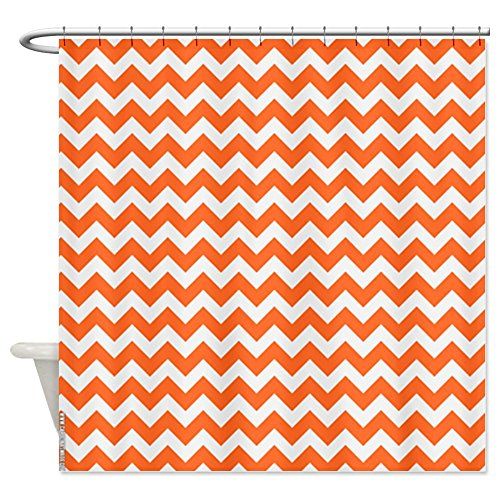 CafePress Chevron Orange Shower Curtain - Standard White