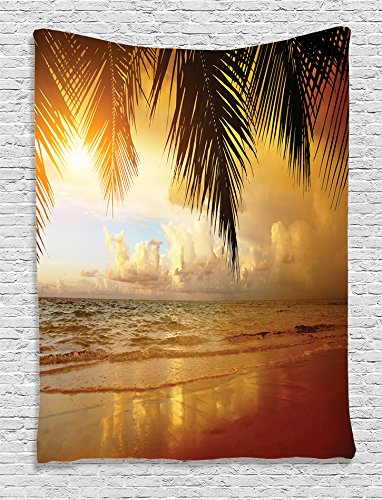 Ambesonne-Ocean-Decor-Collection-Sunset-on-the-Beach-of-Caribbean-Sea-Coast-Photography-Print-Bedroom-Living-Kids-Girls-Boys-Room-Dorm-Accessories-Wall-Hanging-Tapestry-Orange-Yellow-Blue