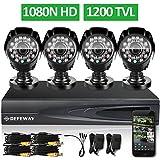 DEFEWAY 1080N DVR 1200TVL 720P HD Outdoor Home Security Video Surveillance Camera System no Hard Drive