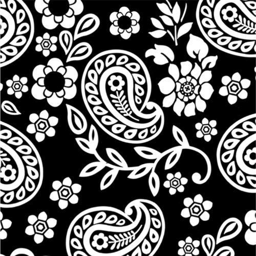 Black and White Paisley Beverage Napkin