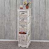 Mendler Serie vintage scaffale cassettiera con 5 ceste legno di paulonia 28x25x90cm bianco
