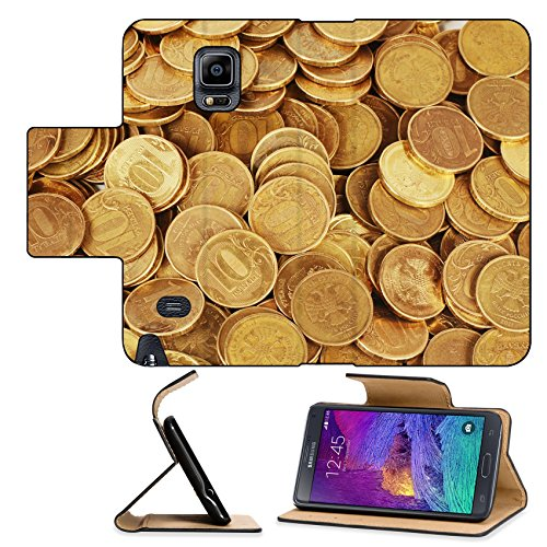 Luxlady Premium Samsung Galaxy Note 4 Flip Pu Leather Wallet Case Gold money stack close up Business concept IMAGE 35646390