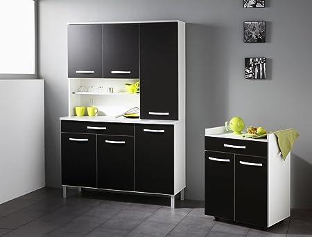 Kuchenschrank Seamus 13 weiß schwarz Schrankkombination Buffetschrank Anrichte Buffet Kuche
