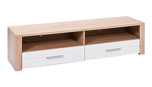 Links 19400100Absoluto TV Stand/Panel 150x 40x 37cm Melamine Sonoma Oak White