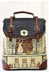 Buenocn Women's Backpack Classic Print Personalized Handbag Backpack Travel Bag Shy513 Black