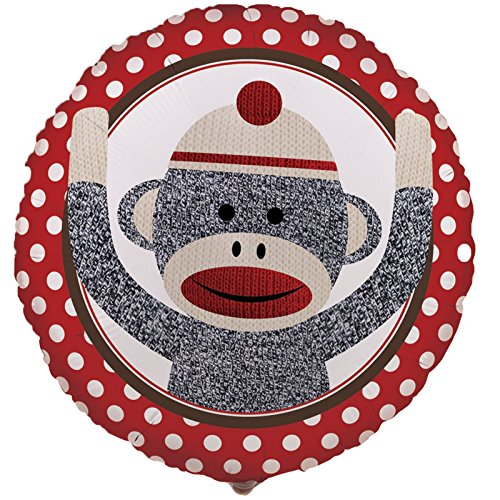 "Sock Monkey Red 18"" Foil Balloon"