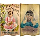 Oriental Furniture Victorian Label Art, 6-Feet Tall Children's Tooth Remedy Vintage Commercial Art Canvas Room Divider