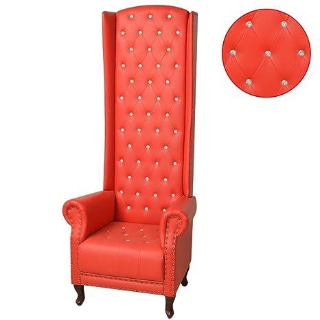 vidaXL Luxus Hochlehner Sessel Relaxsessel Wohnzimmer Kunstleder Rot 77x65x181cm