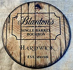 Personalized whiskey barrel top | Handpainted Blanton\'s Bourbon artwork and your additional message on a distressed wood sign | Rustic wall decor