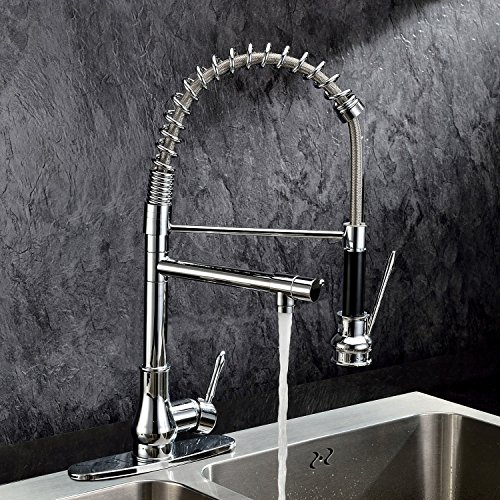 Ouku® Deck Mount Centerset Contemporary Chrome Finish Solid Brass Single Handle Kitchen Sink Faucet Basin Mixer Taps With Pull Down Sprayer Unique Designer Ceramic Valve Included Plumbing Fixtures Tall Curve Spout Bar Faucets With Pull Out Sprayer