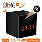 PANORAXY B100V.3 Mini WiFi Hidden Spy Nanny Camera,Invisible Lens,8mtrs Super Night Vision,Remote 720P Live Video,Free App on IOS&Android Phone Pad,Loop Record,12&24 Hours,Clock Alarm,Instant Push (Color: Black without TF card)