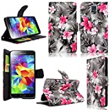 Cellularvilla Wallet Case for Samsung Galaxy S5 Pu Leather Wallet Card Flip Open Pocket Case Cover Pouch (Black Pink Flower)