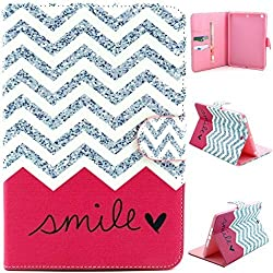 ipad Case, ipad 2/3/4 Case,Gift_Source [Slim Fit] Folio Leather Stand [Wallet] Shell Cover with Card Holder Compatible with Apple Ipad 2 3 4 [Waves Smile]