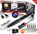 FabQuality 1 DAY Only! Hidden Camera Pen Spy - bundle 16GB Micro SD Card + 5 INK FILLS +updated battery+SD card reader-Record in 1280x720 p HD Executive Multifunction DVR. Perfect Gift - Easy to Use