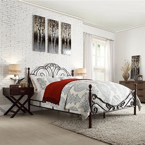 LeAnn Graceful Scroll Bronze Iron Bed Frame (Queen)