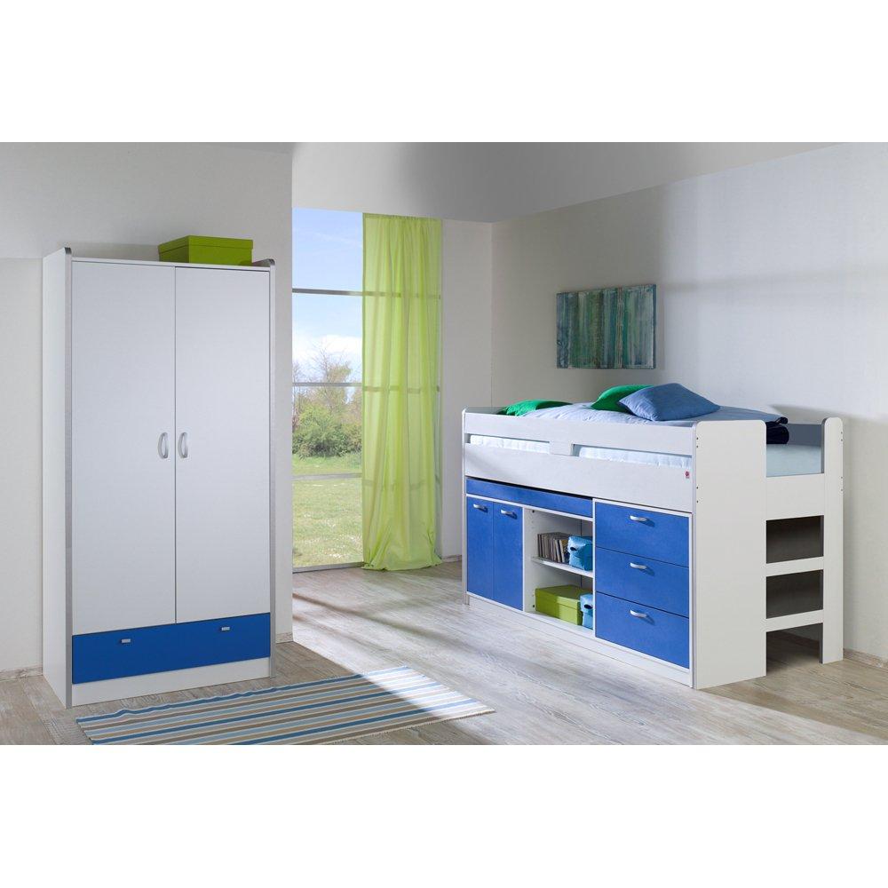 Relita Set: Bonny, Hochbett und Kleiderschrank, 2 Türen, weiß/blau jetzt kaufen