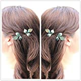 Minimalist Dainty 2Pc Gold Silver Retro Patina Verdigris Athena Olive Festival Garland Floral Metal LEAF Leaves Branch Metal Grecian Hairpin Hair Clips Accessories Bobby Pin Woodland Garden Wedding Fairy Bridesmaids Brides Statement Hair Ornament Decoration Women's GIFT Headwear Headdress Jewelry (Patina leaf)