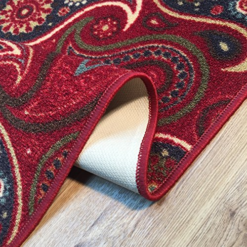 Rooster Tapestry Non Skid Rug: Rubber Back Red Ivory Black Paisley Floral Non-Slip (Non