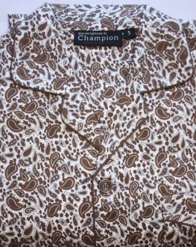 New Mens CHAMPION Paisley Print BRUSHED COTTON Wyncette Button Front Opening Long Sleeved Pyjama. Elasticated Waistband. Button Fly. Breast Pocket. Brown S
