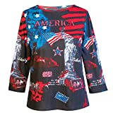 Collections Etc Women's Patriotic America the Beautiful Scoop Neck Top