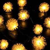 Sunniemart 20 LED Solar Chuzzle Ball Globe String Lights Outdoor Christmas Lights for Patio Garden Lawn Window Decoration(warm White)