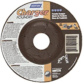 "Norton Charger Plus Foundry Depressed Center Abrasive Wheel, Type 27, Zirconia Alumina and Silicon Carbide, 7/8"" Arbor, 4-1/2"" Diameter x 1/8"" Thickness  (Pack of 2)"