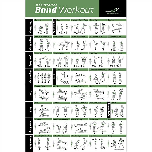 Resistance Band/Tube Exercise Poster Laminated - Total Body Workout Personal Trainer Fitness Chart - Home Fitness Training Program for Elastic Rubber Tubes and Stretch Band Sets - 20