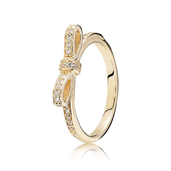 Original Pandora Gold Bow Ring 14 Carat Gold with Clear Cubic Zirconia Crystals-No. 150175CZ