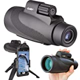Gosky 12X50 High Power Prism Monocular Smartphone Holder and Handheld Tripod Kit- Waterproof/Fog-Proof/Shockproof Grip Scope -for Hiking,Hunting,Climbing,Birdwatching Watching Wildlife and Scenery (Color: 12x50 Monocular +Phone Holder+Handheld Tripod)