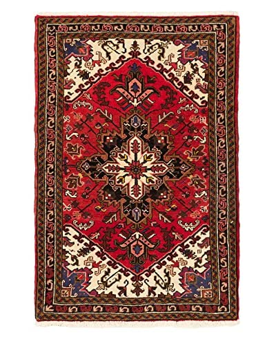 "Hand-Knotted Heriz Wool Rug, Red, 3' 8"" x 5' 7"""