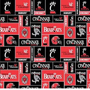 college university of cincinnati bearcats print fleece fabric by the yard. Black Bedroom Furniture Sets. Home Design Ideas
