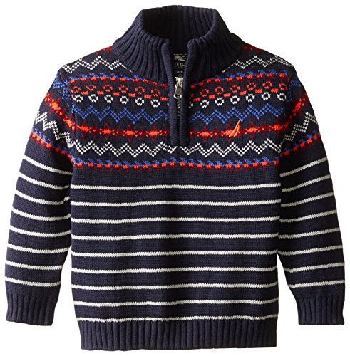 Nautica Baby Boys' Zip Neck Fairisle Sweater with Stripe, Sport Navy, 18 Months