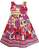 Sunny Fashion Robe Fille Rouge Fleur Dénudez Ourlet Arc Attacher Sans manches
