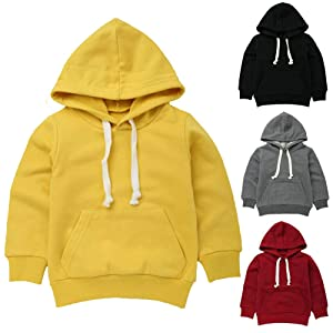 Baby Sweatshirt 1-7 Years Old,Toddler Boy Girl Kids Autumn Winter Long Sleeve Solid Hooded Casual Tops Pullover