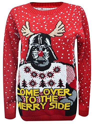 Nuovo Donne, da uomo Unisex Natale StarWars Come over to the Buon Lato Fiocco di neve Maglione Red Star War XL