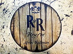 Personalized whiskey barrel top | Handpainted Rich & Rare R&R Whisky artwork and your additional message on a distressed wood sign | Rustic wall decor
