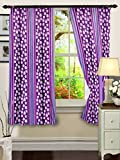 "Cenizas Fancy Polyster Window Curtain Set of 2 - 60""X48"", - Purple (CURT-N0008)"