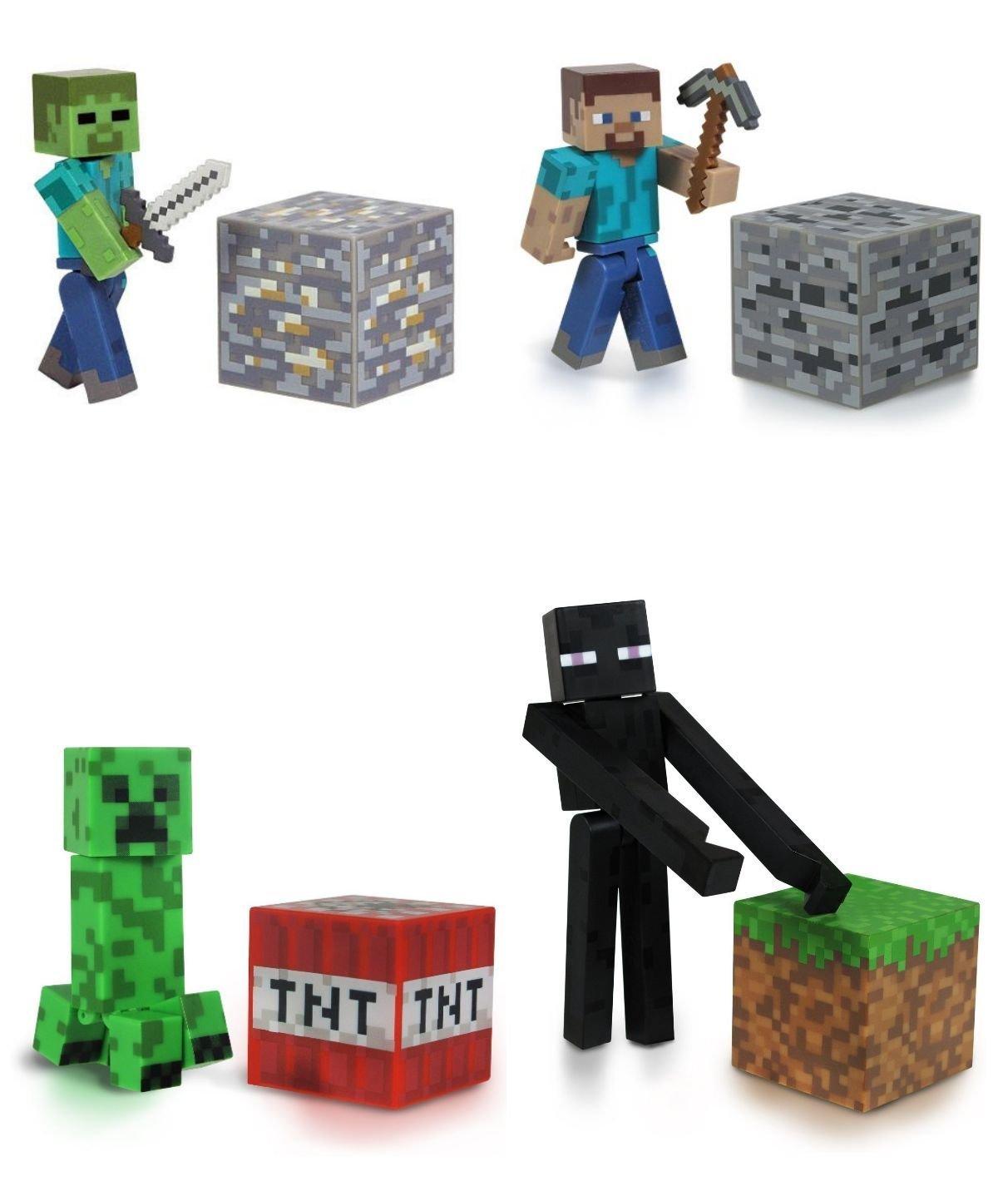Minecraft overworld core player steve creeper zombie enderman mini figure set ebay - Minecraft creeper and steve ...